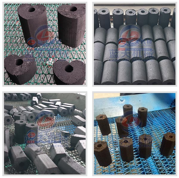 Finished products of charcoal briquette making machine